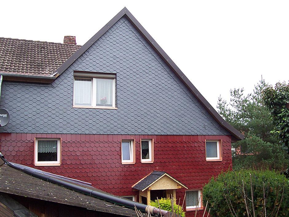 Framke Dachdecker: Fassade, Biberschwanzziegel